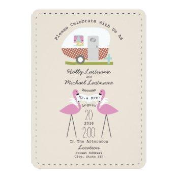 vintage camper and flamingos wedding invitation