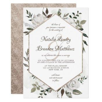 vintage cherish white floral hexagon wedding invitation