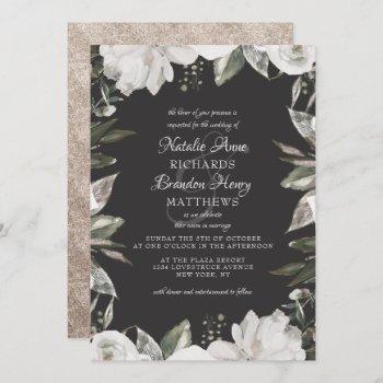 vintage cherish white floral & rose border wedding invitation