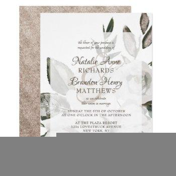 vintage cherish white floral & rose framed wedding invitation