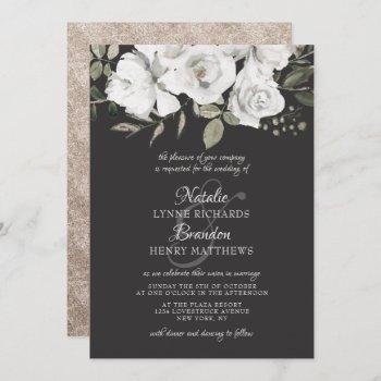 vintage cherish white floral & rose gold wedding invitation