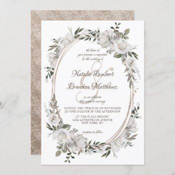 vintage cherish white floral & roses oval wedding invitation