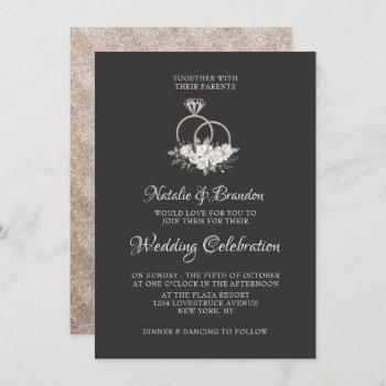 vintage cherish white floral roses & rings wedding invitation