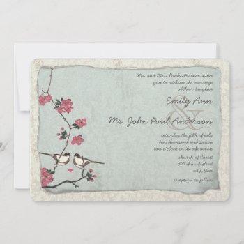 vintage cherry blossom chickadee  damask wedding invitation