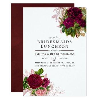 vintage chic blush & burgundy bridesmaids luncheon invitation