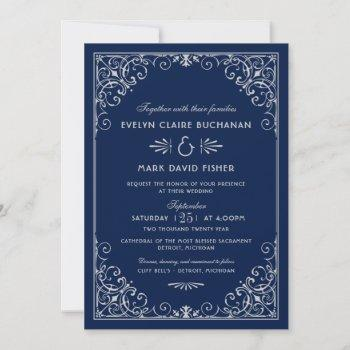 vintage dark navy and silver art deco wedding invitation