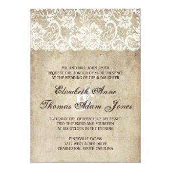 Small Vintage Elegance Lace Wedding Invitation Front View