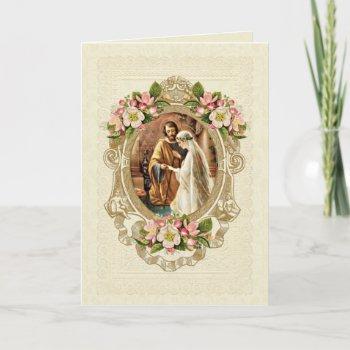 vintage elegant traditional catholic wedding invitation