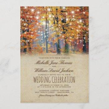 vintage fall rustic autumn string lights wedding invitation