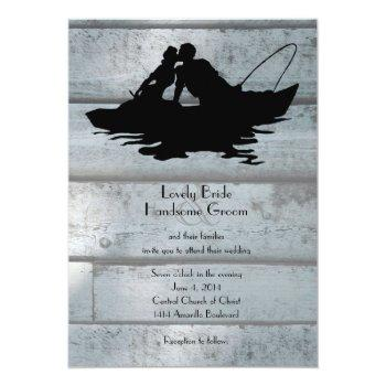 Small Vintage Fishing Lovers Boat Wedding Invitation Front View