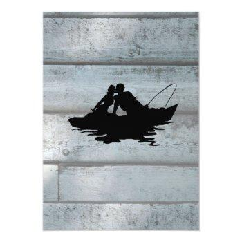 Small Vintage Fishing Lovers Boat Wedding Invitation Back View