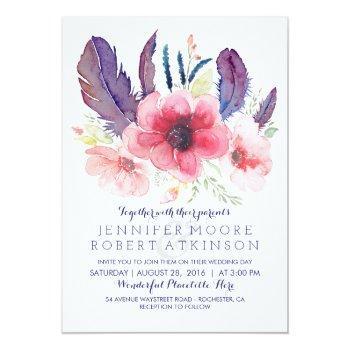 vintage floral boho watercolor wedding invitation
