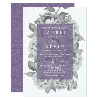 vintage floral wedding invitation   violet