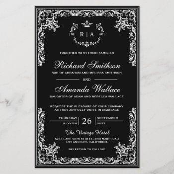vintage flourish ornate budget wedding invitation