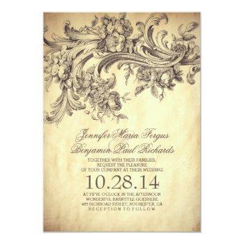 vintage flourishes elegant and luxury wedding invitation