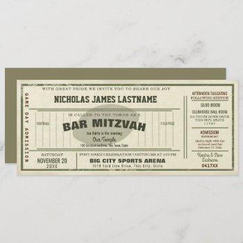vintage football pass bar mitzvah invitation