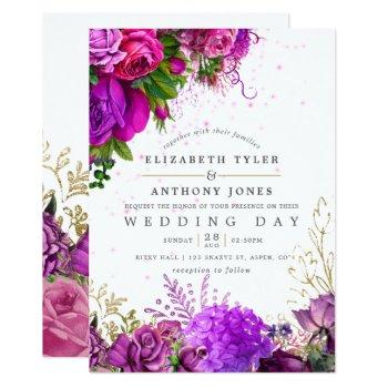 vintage fuchsia and purple shabby floral wedding invitation