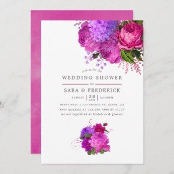 vintage fuchsia and purple shabby wedding shower invitation