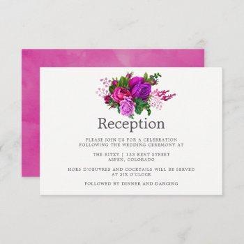 vintage fuchsia & purple shabby wedding reception invitation