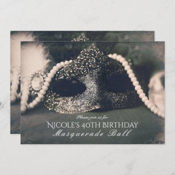 vintage glam old photo masquerade mask invitation