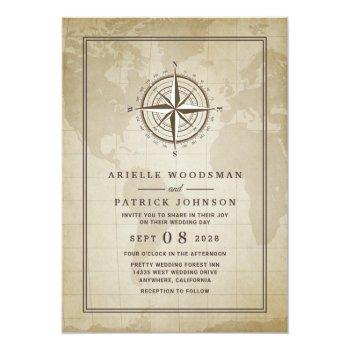 Small Vintage Globe Nautical Compass Wedding Invitations Front View
