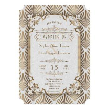 vintage gold art deco great gatsby 20s wedding invitation