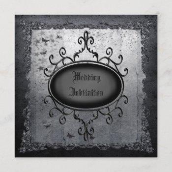 vintage gothic grunge linen wedding invites