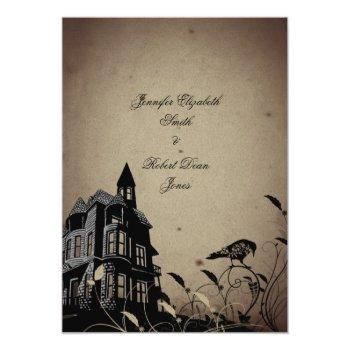 vintage gothic house wedding invitation