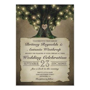 vintage grandfather oak tree wedding invitations