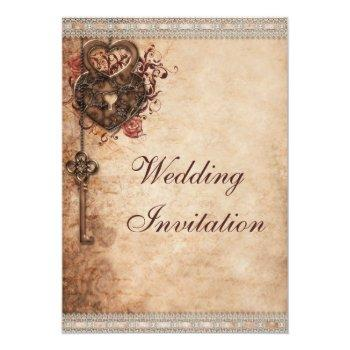 vintage hearts lock and key wedding invitation