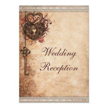 Small Vintage Hearts Lock And Key Wedding Reception Invitation Front View