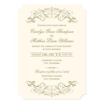 vintage ivory and antique gold flourish wedding invitation