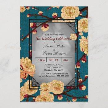 vintage japanese cherry blossom wedding invitation