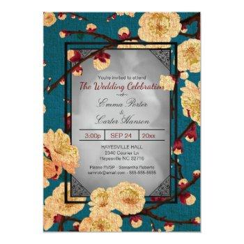 vintage japanese cherry blossom wedding invitation
