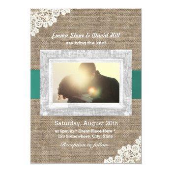 vintage lace & burlap custom photo wedding invitation