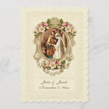 vintage lace traditional catholic church/reception invitation