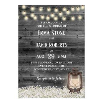 vintage lantern baby's breath barn wood wedding invitation
