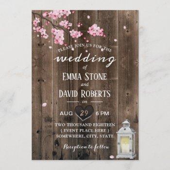 vintage lantern cherry blossom floral barn wedding invitation