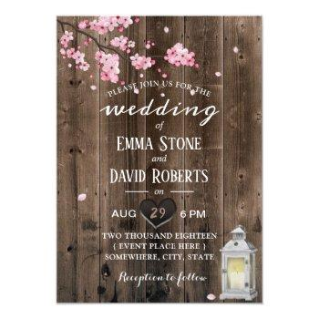 vintage lantern cherry blossom floral barn wedding invitation