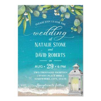 vintage lantern elegant foliage beach wedding invitation
