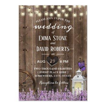 Small Vintage Lantern Lavender Floral Barn Wood Wedding Invitation Front View