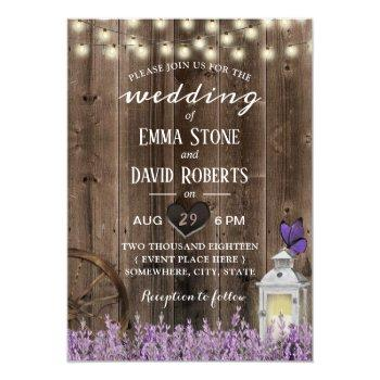 vintage lantern lavender floral barn wood wedding invitation