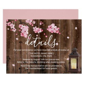 vintage lantern pink floral wedding details invitation
