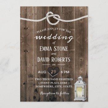 vintage lantern tying the knot barn wedding invitation