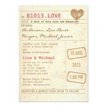 vintage library card wedding invitation
