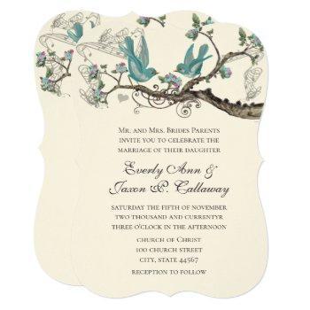 vintage love bird aqua & pink wedding invitation