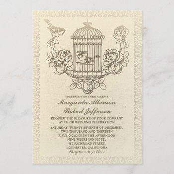 vintage love birds cage wedding invitations