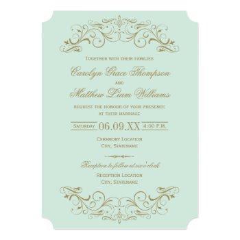 vintage mint and antique gold flourish wedding invitation
