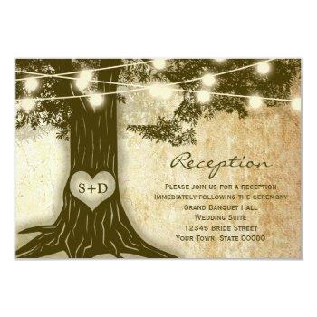 vintage oak tree rustic lights reception info card
