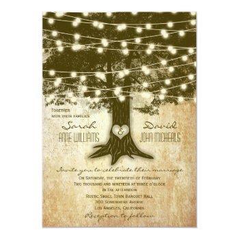 vintage oak tree rustic string lights wedding invitation